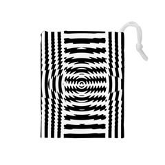 Black And White Abstract Stripped Geometric Background Drawstring Pouches (medium)