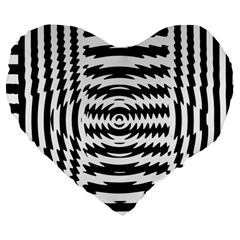 Black And White Abstract Stripped Geometric Background Large 19  Premium Flano Heart Shape Cushions