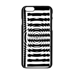 Black And White Abstract Stripped Geometric Background Apple Iphone 6/6s Black Enamel Case