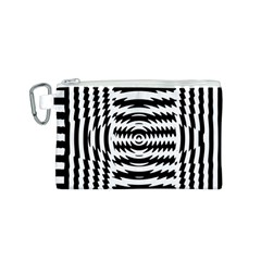 Black And White Abstract Stripped Geometric Background Canvas Cosmetic Bag (S)