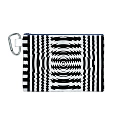 Black And White Abstract Stripped Geometric Background Canvas Cosmetic Bag (M)