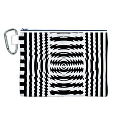 Black And White Abstract Stripped Geometric Background Canvas Cosmetic Bag (l)