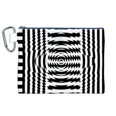 Black And White Abstract Stripped Geometric Background Canvas Cosmetic Bag (XL)