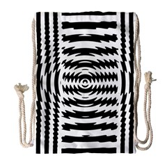 Black And White Abstract Stripped Geometric Background Drawstring Bag (large)