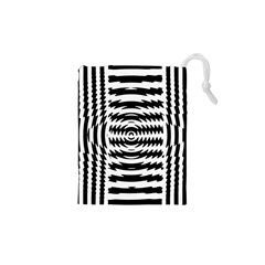 Black And White Abstract Stripped Geometric Background Drawstring Pouches (XS)