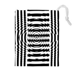 Black And White Abstract Stripped Geometric Background Drawstring Pouches (Extra Large)
