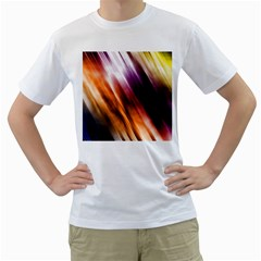 Colourful Grunge Stripe Background Men s T-Shirt (White) (Two Sided)