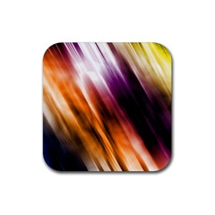 Colourful Grunge Stripe Background Rubber Square Coaster (4 Pack)