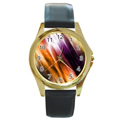 Colourful Grunge Stripe Background Round Gold Metal Watch