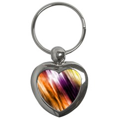 Colourful Grunge Stripe Background Key Chains (Heart)