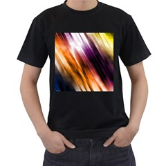 Colourful Grunge Stripe Background Men s T-Shirt (Black) (Two Sided)