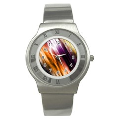 Colourful Grunge Stripe Background Stainless Steel Watch