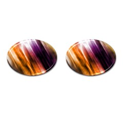 Colourful Grunge Stripe Background Cufflinks (oval)
