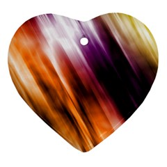 Colourful Grunge Stripe Background Heart Ornament (Two Sides)