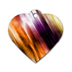 Colourful Grunge Stripe Background Dog Tag Heart (Two Sides)