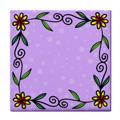 Hand Drawn Doodle Flower Border Tile Coasters