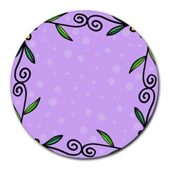 Hand Drawn Doodle Flower Border Round Mousepads