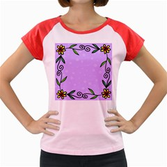 Hand Drawn Doodle Flower Border Women s Cap Sleeve T Shirt