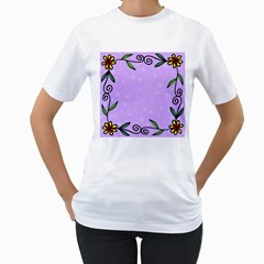 Hand Drawn Doodle Flower Border Women s T Shirt (white) (two Sided)