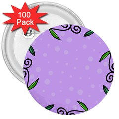 Hand Drawn Doodle Flower Border 3  Buttons (100 pack)