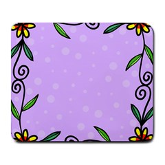 Hand Drawn Doodle Flower Border Large Mousepads
