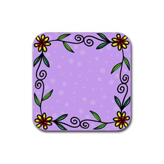 Hand Drawn Doodle Flower Border Rubber Square Coaster (4 pack)