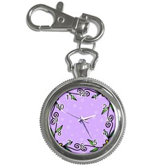 Hand Drawn Doodle Flower Border Key Chain Watches