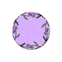 Hand Drawn Doodle Flower Border Magnet 3  (round)