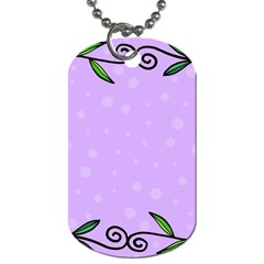 Hand Drawn Doodle Flower Border Dog Tag (One Side)