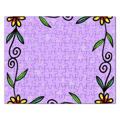 Hand Drawn Doodle Flower Border Rectangular Jigsaw Puzzl