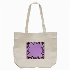 Hand Drawn Doodle Flower Border Tote Bag (Cream)