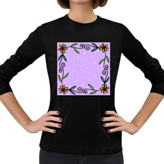 Hand Drawn Doodle Flower Border Women s Long Sleeve Dark T-Shirts