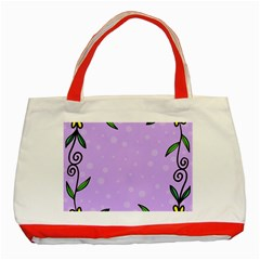 Hand Drawn Doodle Flower Border Classic Tote Bag (red)