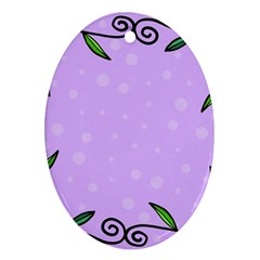 Hand Drawn Doodle Flower Border Oval Ornament (Two Sides)