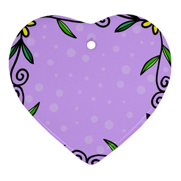 Hand Drawn Doodle Flower Border Heart Ornament (Two Sides)