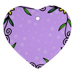 Hand Drawn Doodle Flower Border Heart Ornament (Two Sides) Back