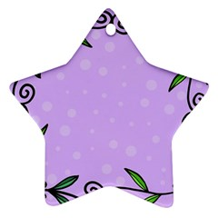 Hand Drawn Doodle Flower Border Star Ornament (Two Sides)