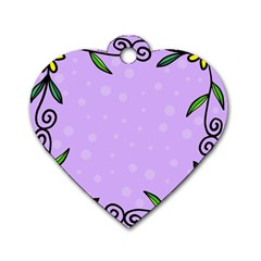 Hand Drawn Doodle Flower Border Dog Tag Heart (two Sides)