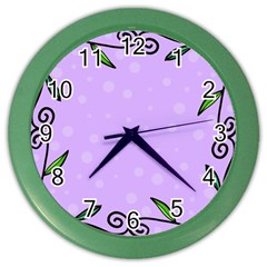 Hand Drawn Doodle Flower Border Color Wall Clocks