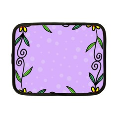 Hand Drawn Doodle Flower Border Netbook Case (Small)