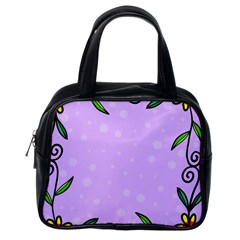 Hand Drawn Doodle Flower Border Classic Handbags (One Side)
