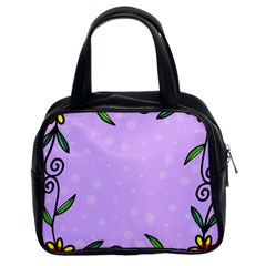 Hand Drawn Doodle Flower Border Classic Handbags (2 Sides)