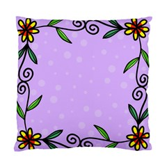 Hand Drawn Doodle Flower Border Standard Cushion Case (Two Sides)