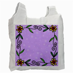 Hand Drawn Doodle Flower Border Recycle Bag (One Side)