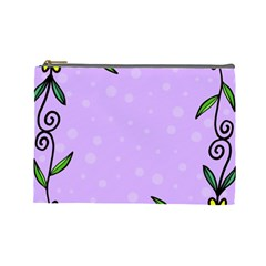 Hand Drawn Doodle Flower Border Cosmetic Bag (large)