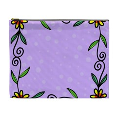 Hand Drawn Doodle Flower Border Cosmetic Bag (xl)