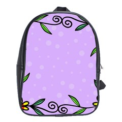 Hand Drawn Doodle Flower Border School Bags(large)