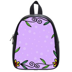 Hand Drawn Doodle Flower Border School Bags (Small)