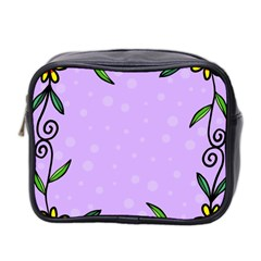 Hand Drawn Doodle Flower Border Mini Toiletries Bag 2 Side