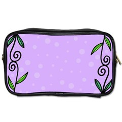 Hand Drawn Doodle Flower Border Toiletries Bags